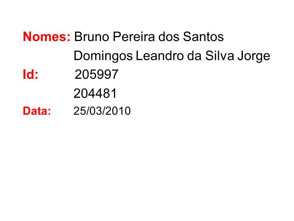 Nomes: Bruno Pereira dos Santos Domingos Leandro da Silva Jorge