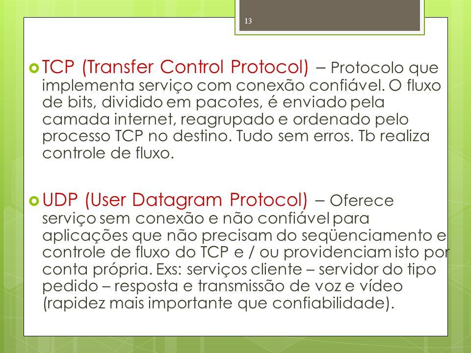 TCP (Transfer Control Protocol) – Protocolo que implementa serviço com conexão confiável. O fluxo de bits, dividido em pacotes, é enviado pela camada internet, reagrupado e ordenado pelo processo TCP no destino. Tudo sem erros. Tb realiza controle de fluxo.