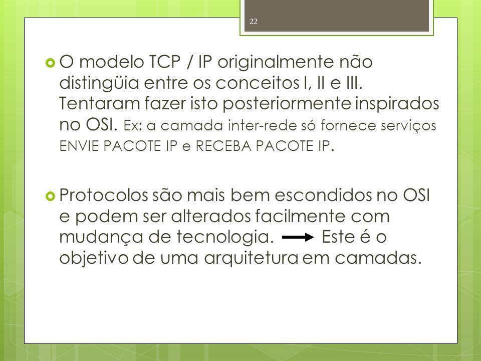 O modelo TCP / IP originalmente não distingüia entre os conceitos I, II e III. Tentaram fazer isto posteriormente inspirados no OSI. Ex: a camada inter-rede só fornece serviços ENVIE PACOTE IP e RECEBA PACOTE IP.