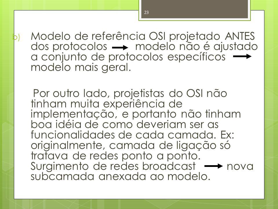 Modelo de referência OSI projetado ANTES dos protocolos modelo não é ajustado a conjunto de protocolos específicos modelo mais geral.