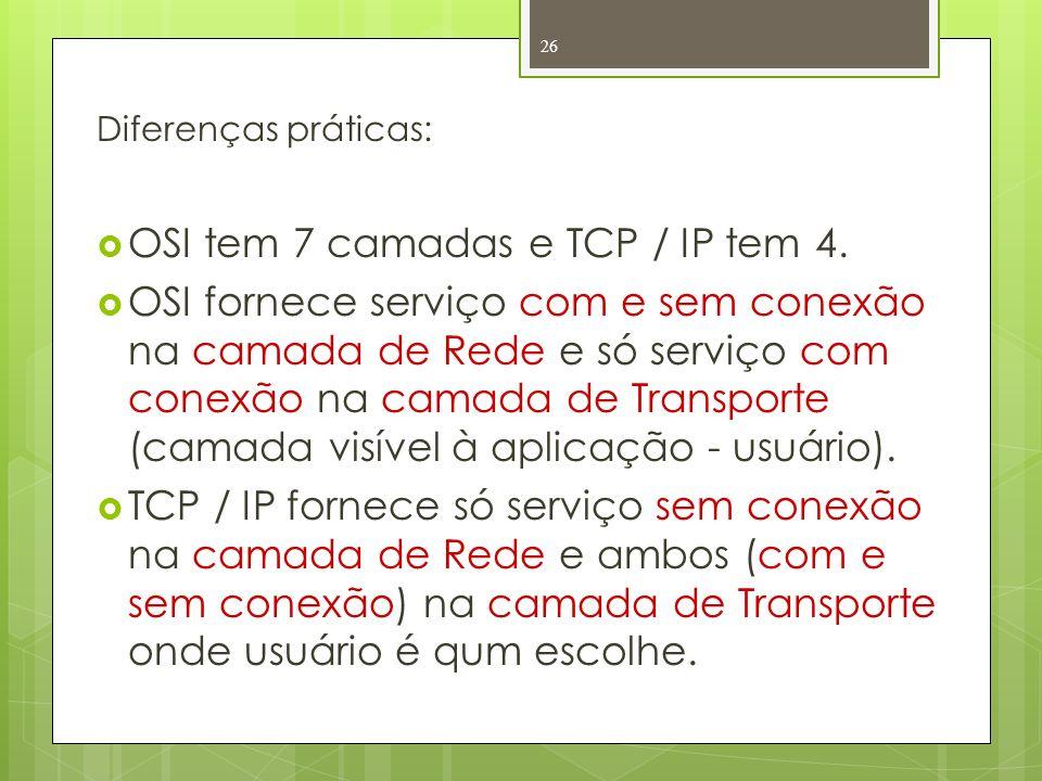 OSI tem 7 camadas e TCP / IP tem 4.