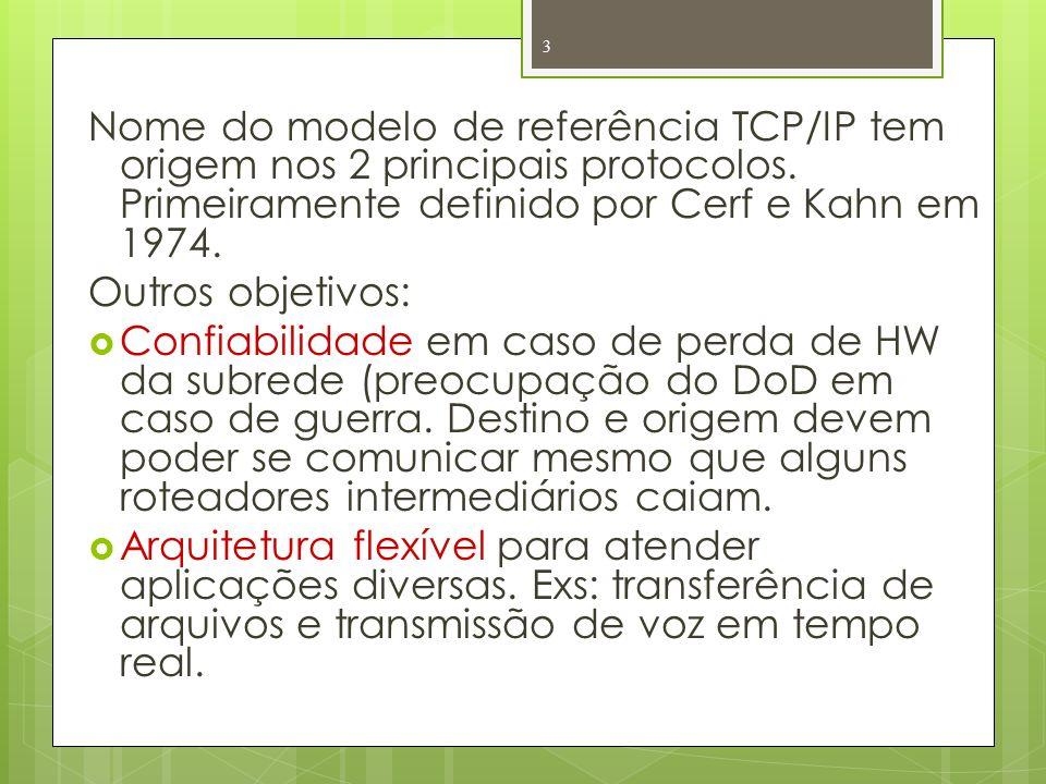 Nome do modelo de referência TCP/IP tem origem nos 2 principais protocolos. Primeiramente definido por Cerf e Kahn em 1974.