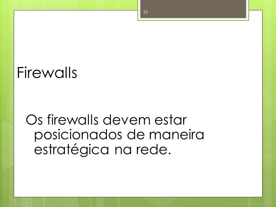 Firewalls Os firewalls devem estar posicionados de maneira estratégica na rede.