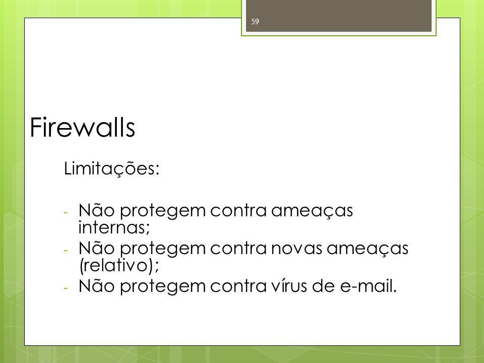 Firewalls Limitações: Não protegem contra ameaças internas;