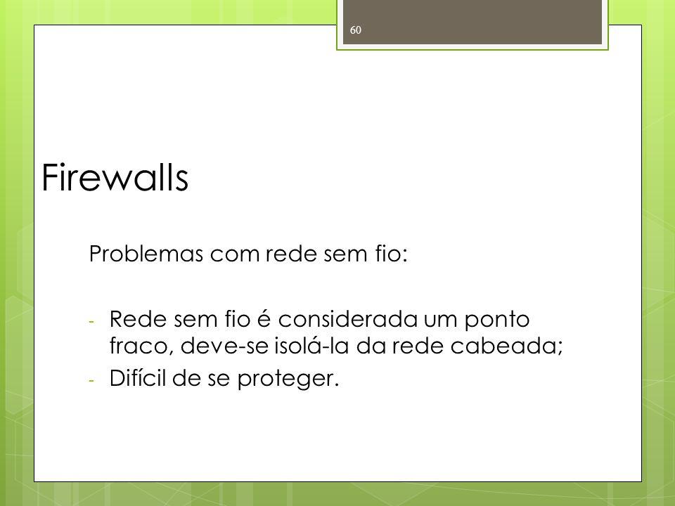 Firewalls Problemas com rede sem fio: