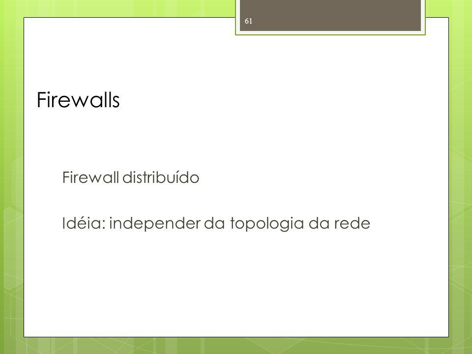 Firewalls Firewall distribuído Idéia: independer da topologia da rede
