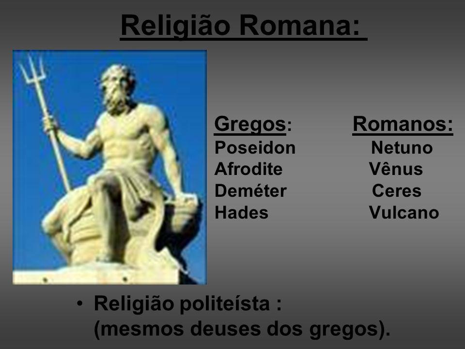 Religião Romana: Religião politeísta : (mesmos deuses dos gregos).
