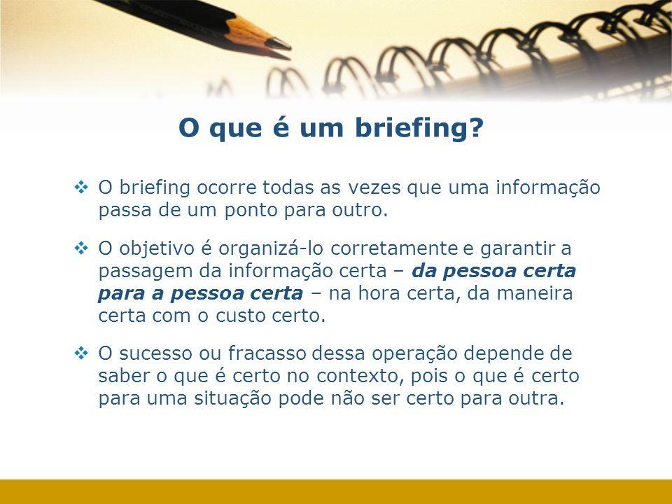 O que é um briefing O briefing ocorre todas as vezes que uma informação passa de um ponto para outro.