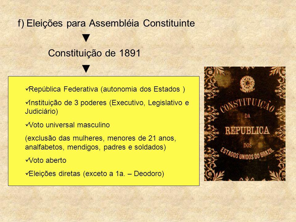 f) Eleições para Assembléia Constituinte ▼ Constituição de 1891