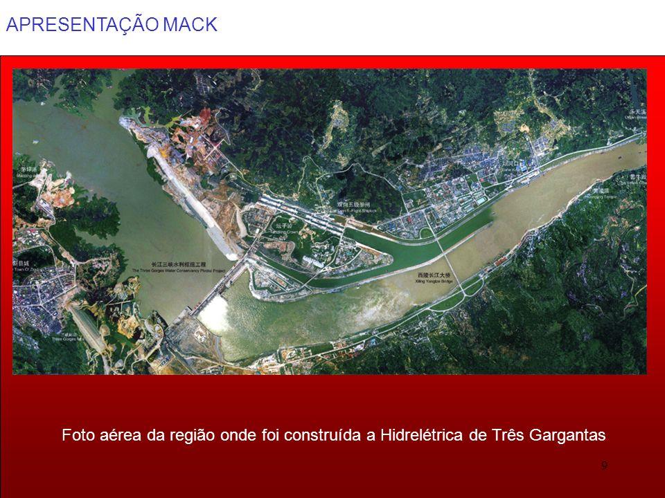 Foto aérea da região onde foi construída a Hidrelétrica de Três Gargantas