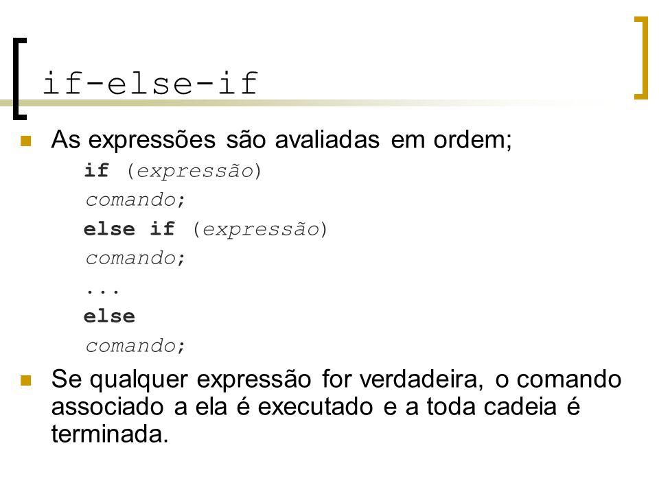 if-else-if As expressões são avaliadas em ordem;