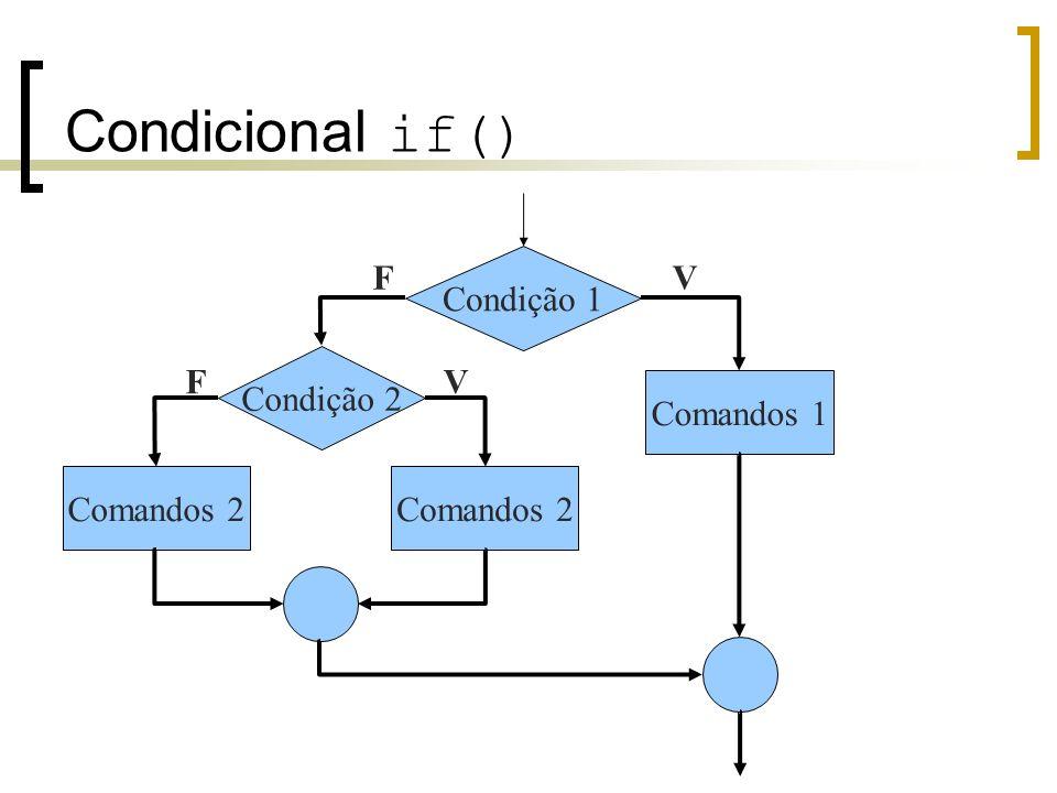Condicional if() F Condição 1 V Condição 2 F V Comandos 1 Comandos 2