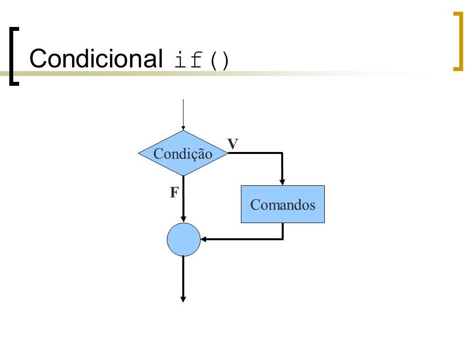 Condicional if() Condição V F Comandos