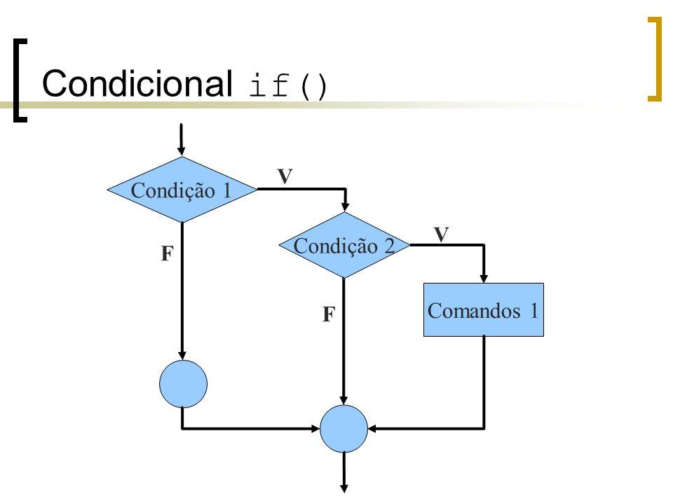 Condicional if() Condição 1 V Condição 2 V F Comandos 1 F