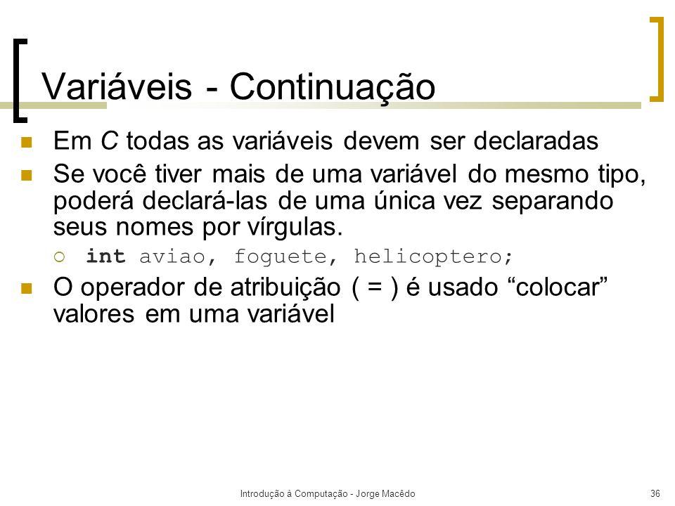Variáveis - Continuação