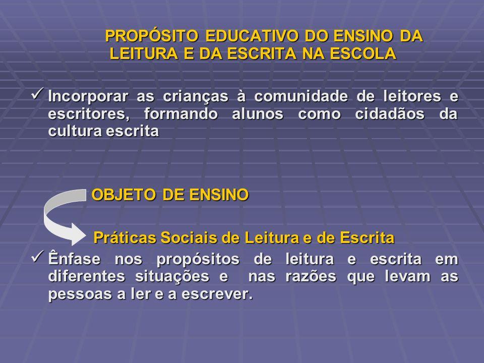 PROPÓSITO EDUCATIVO DO ENSINO DA LEITURA E DA ESCRITA NA ESCOLA
