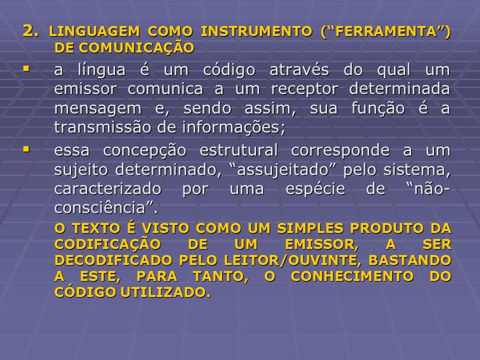 2. LINGUAGEM COMO INSTRUMENTO ( FERRAMENTA ) DE COMUNICAÇÃO