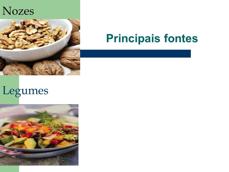 Nozes Principais fontes Legumes