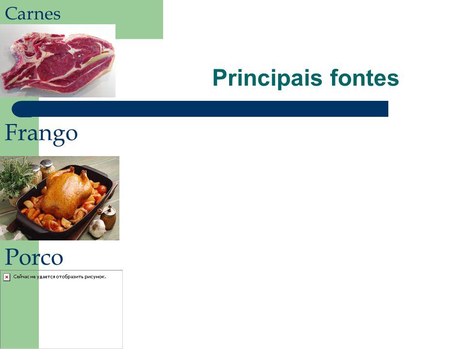 Carnes Principais fontes Frango Porco