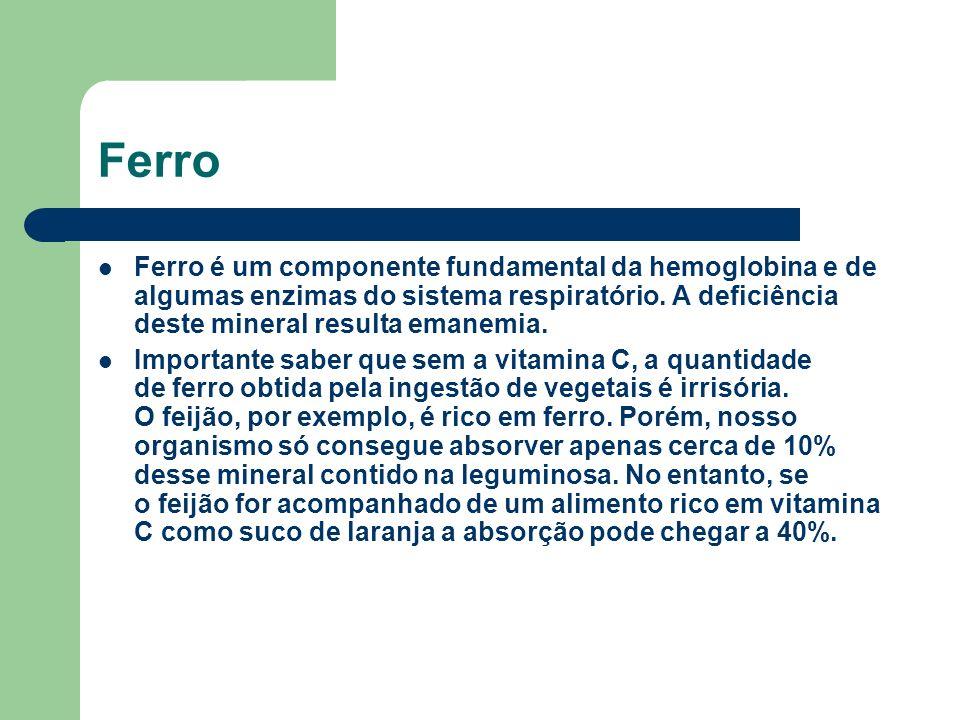Ferro Ferro é um componente fundamental da hemoglobina e de algumas enzimas do sistema respiratório. A deficiência deste mineral resulta emanemia.
