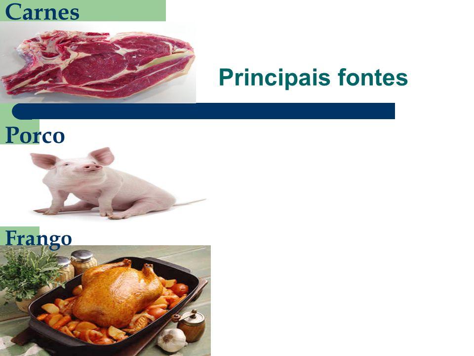 Carnes Principais fontes Porco Frango