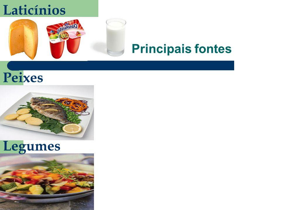 Laticínios Principais fontes Peixes Legumes