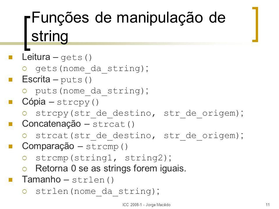 Funções de manipulação de string