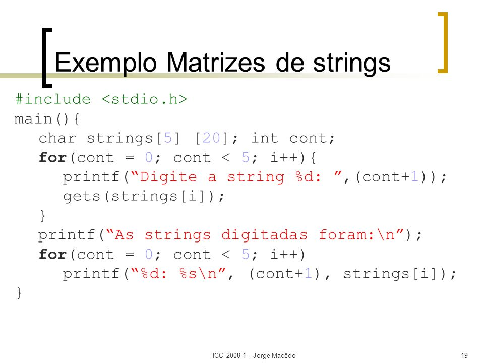 Exemplo Matrizes de strings