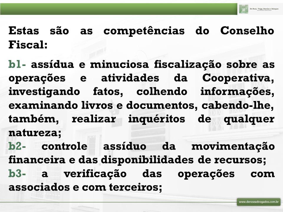 Estas são as competências do Conselho Fiscal: