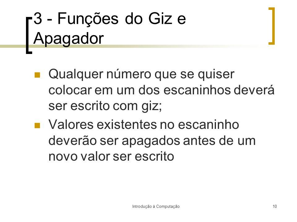 3 - Funções do Giz e Apagador