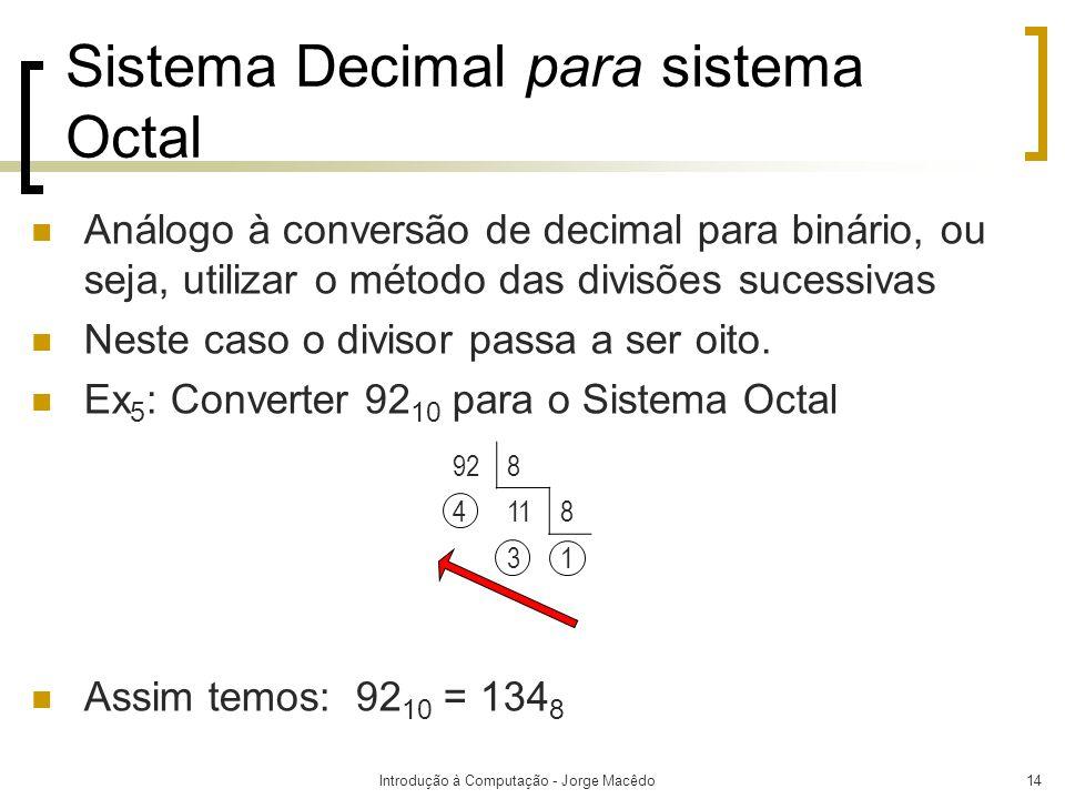 Sistema Decimal para sistema Octal