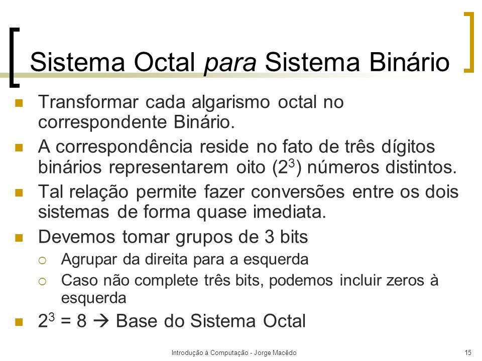 Sistema Octal para Sistema Binário
