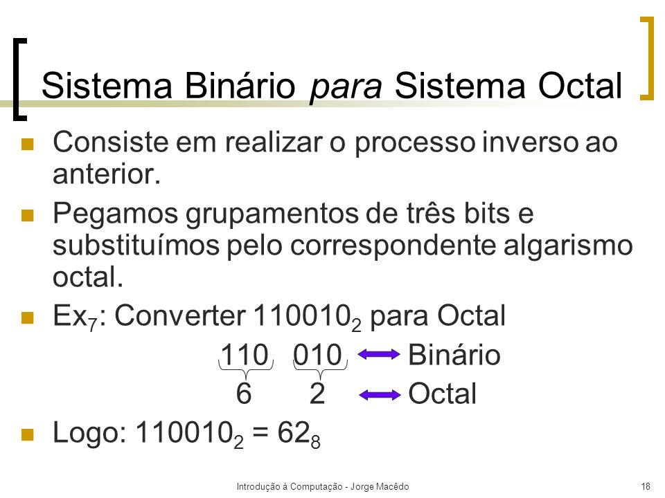 Sistema Binário para Sistema Octal