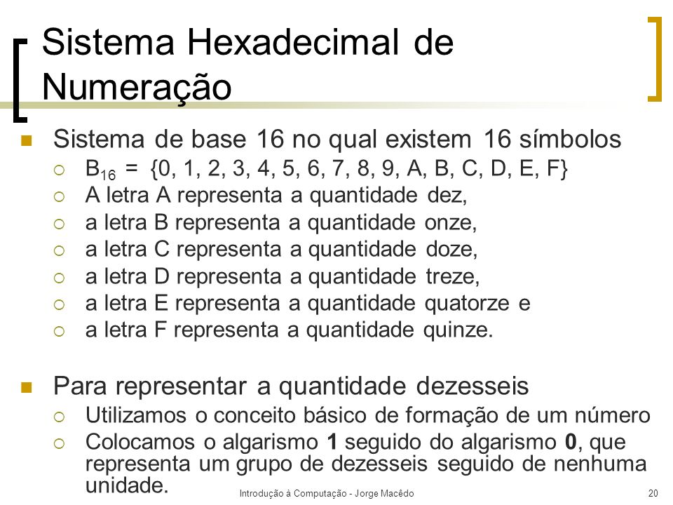 Sistema Hexadecimal de Numeração