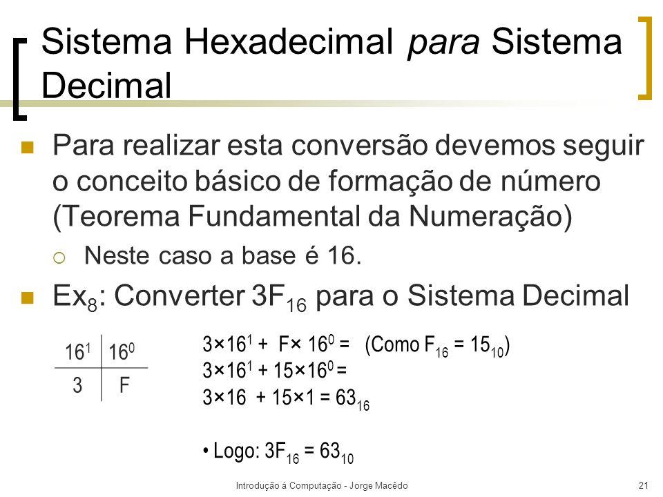 Sistema Hexadecimal para Sistema Decimal