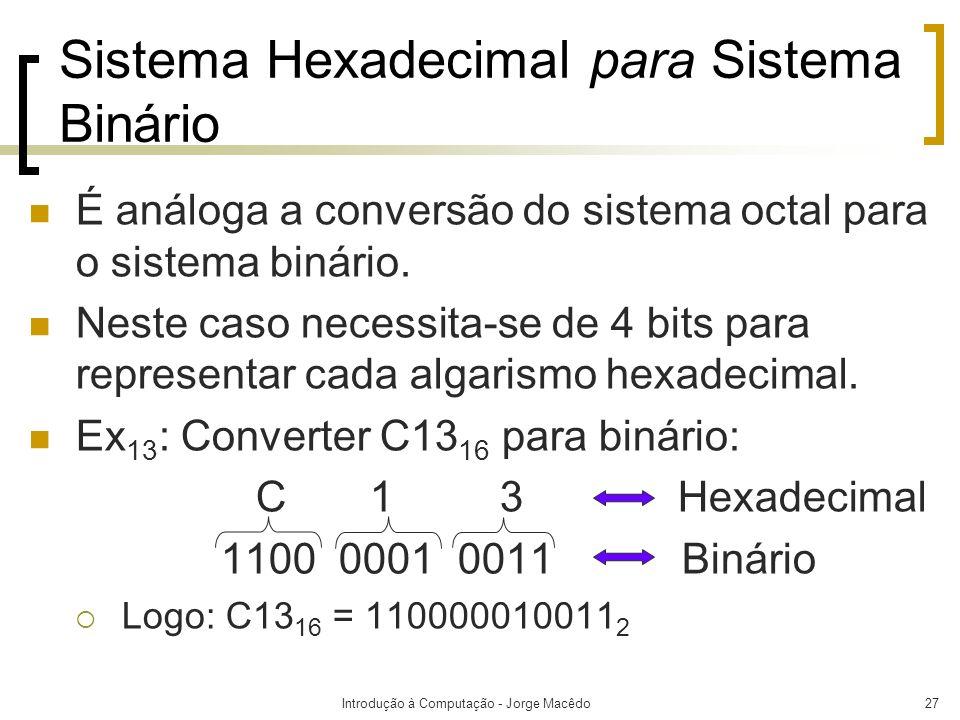 Sistema Hexadecimal para Sistema Binário
