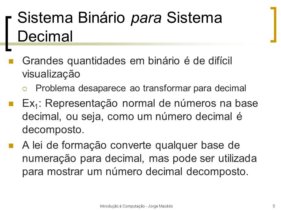 Sistema Binário para Sistema Decimal