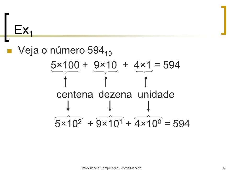 Ex1 Veja o número 59410. 5×100 + 9×10 + 4×1 = 594. centena dezena unidade. 5×102 + 9×101 + 4×100 = 594.