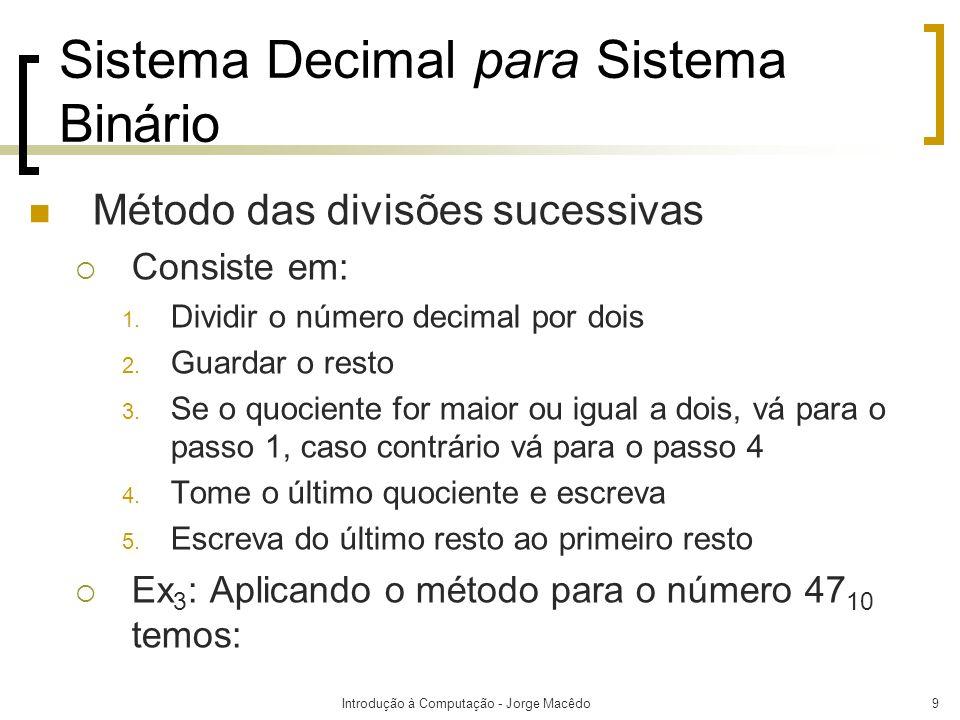 Sistema Decimal para Sistema Binário