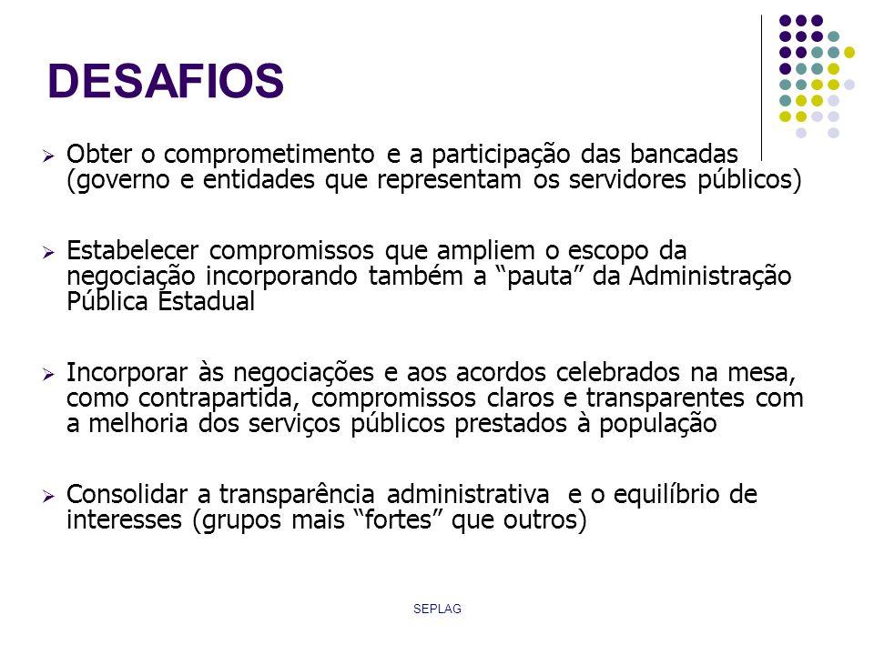 DESAFIOS Obter o comprometimento e a participação das bancadas (governo e entidades que representam os servidores públicos)