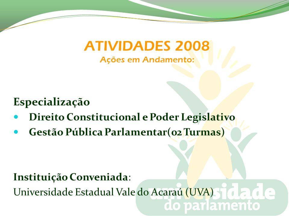 ATIVIDADES 2008 Ações em Andamento: