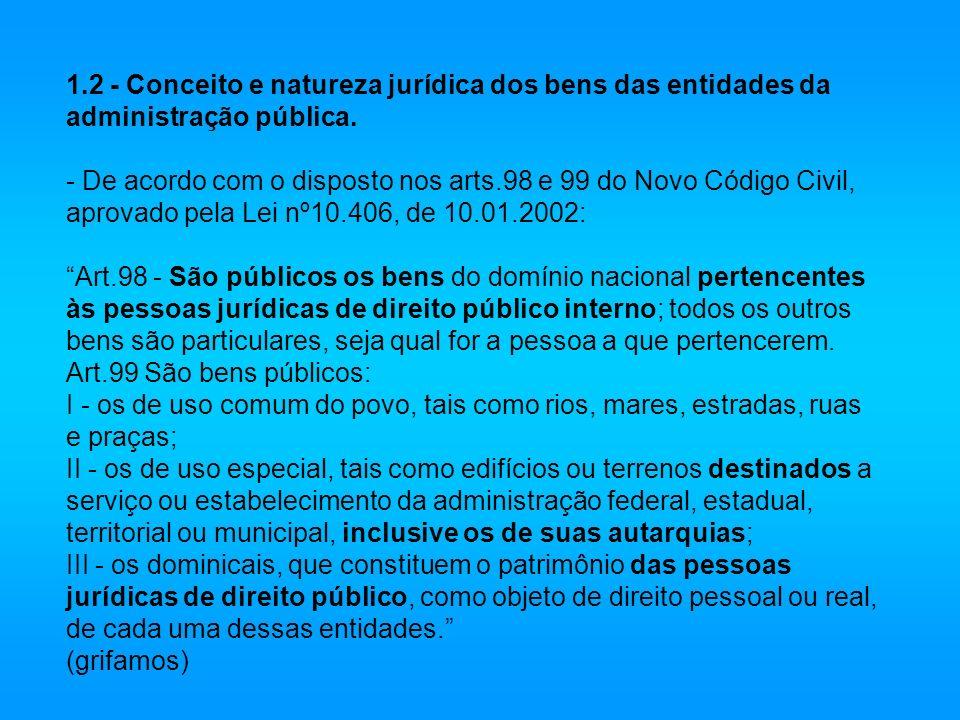 1.2 - Conceito e natureza jurídica dos bens das entidades da administração pública.