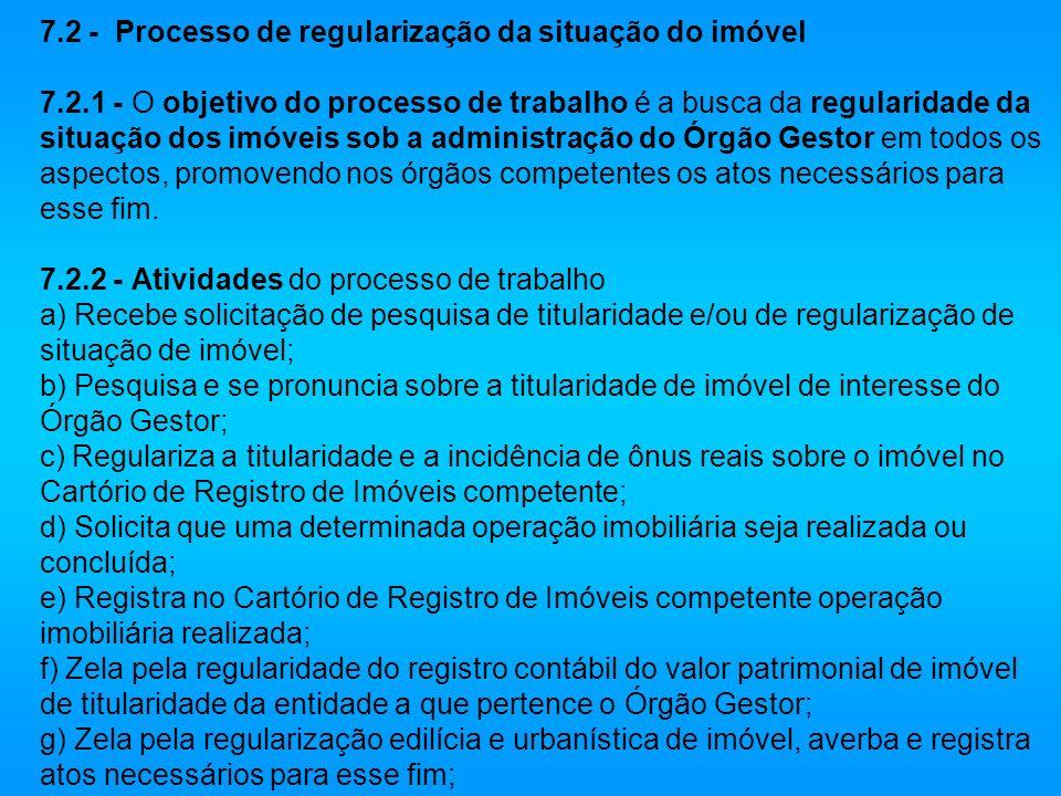 7. 2 - Processo de regularização da situação do imóvel 7. 2