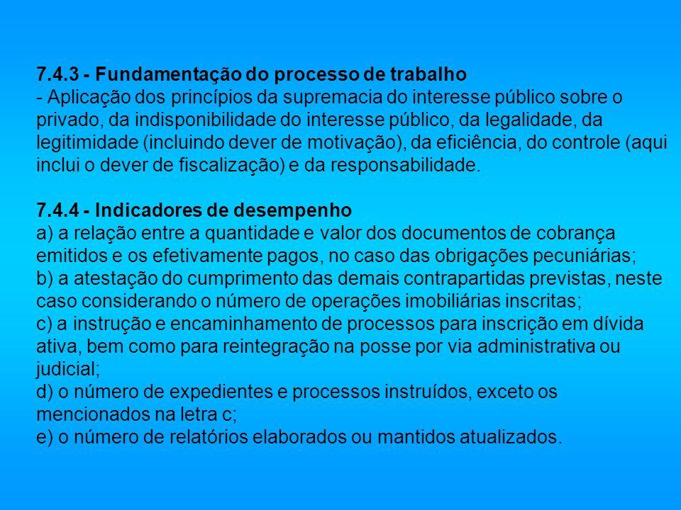 7.4.3 - Fundamentação do processo de trabalho - Aplicação dos princípios da supremacia do interesse público sobre o privado, da indisponibilidade do interesse público, da legalidade, da legitimidade (incluindo dever de motivação), da eficiência, do controle (aqui inclui o dever de fiscalização) e da responsabilidade.