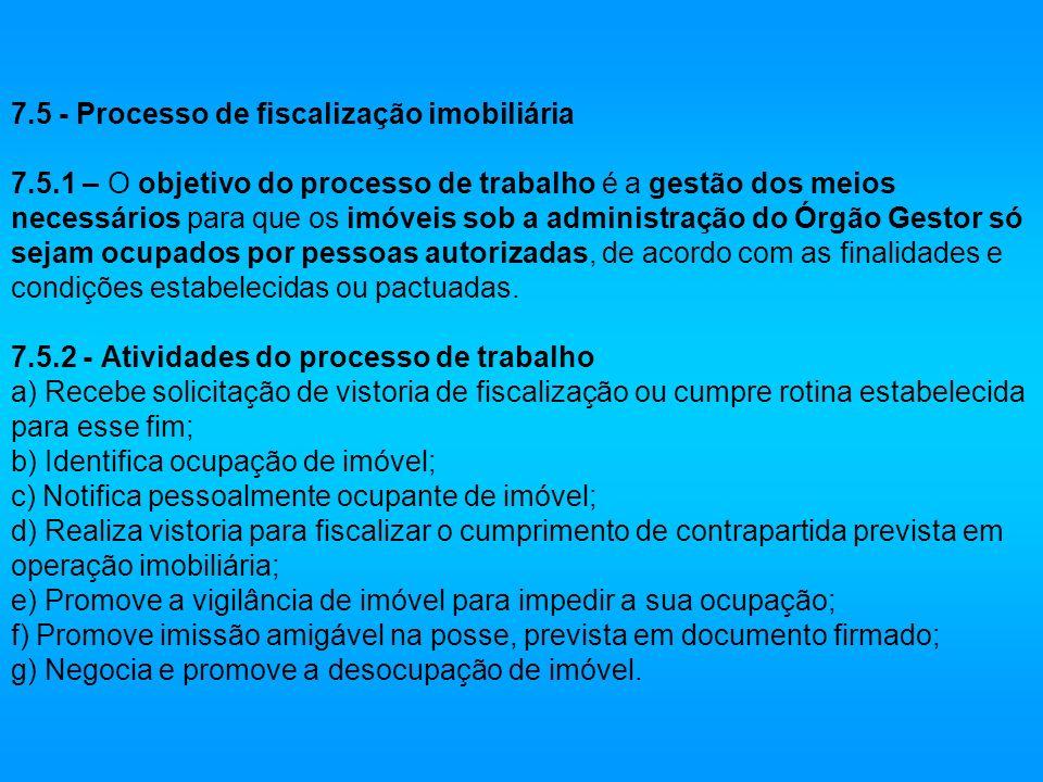 7. 5 - Processo de fiscalização imobiliária 7. 5