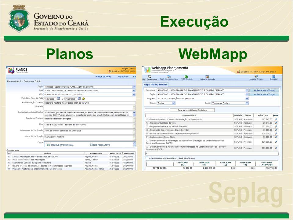 Execução Planos WebMapp