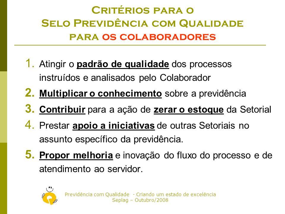 Critérios para o Selo Previdência com Qualidade para os colaboradores