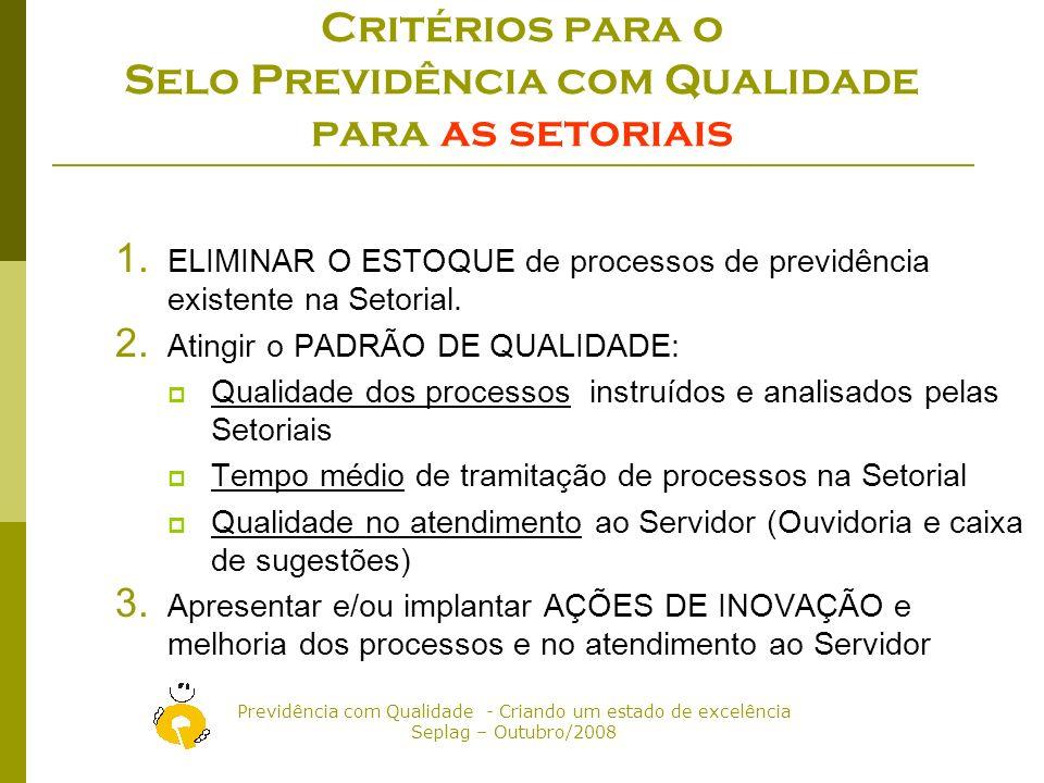 Critérios para o Selo Previdência com Qualidade para as setoriais