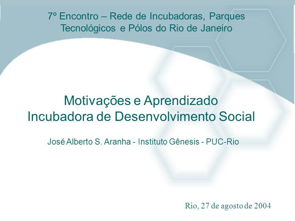 Motivações e Aprendizado Incubadora de Desenvolvimento Social