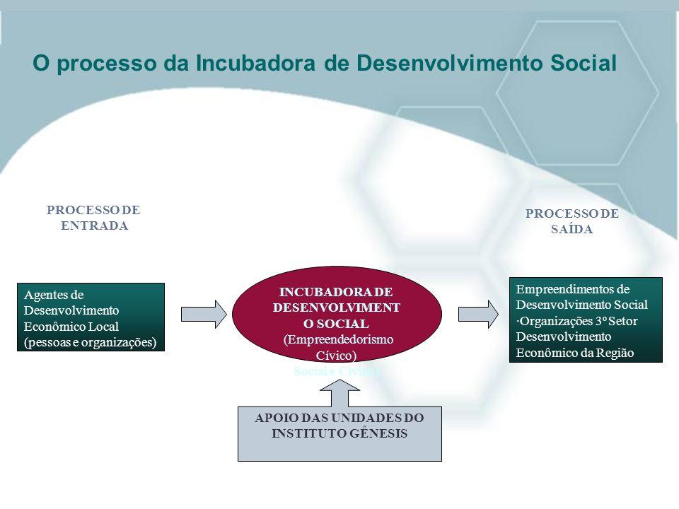 O processo da Incubadora de Desenvolvimento Social